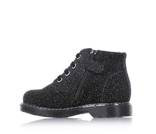 NERO GIARDINI - Schwarz-silberner Schuh mit Schnürsenkel, aus Glitzern, seitlich ein Reißverschluss, Samtschnürsenkel und Gummisohle, Mädchen