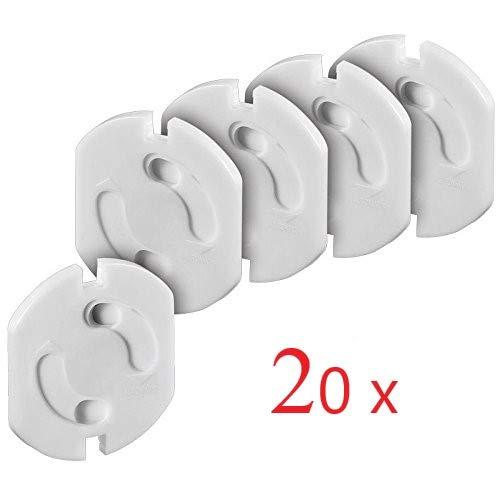 Offgridtec 0003-78114-20er Protector de enchufes con mecanismo de giro color blanco 20 unidades