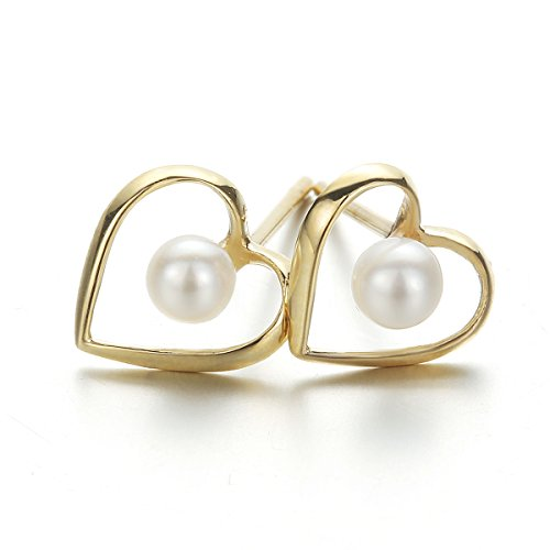 Carleen Solid 14K Rose Gold White Cultured Pearl Heart Open Shaped Stud Earrings for Women ()