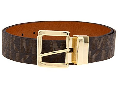 MICHAEL Michael Kors Reversible Synthetic Leather Logo Belt (Chocolate/Luggage) (Michael Kors Brown Belt)