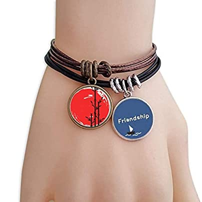 YMNW Red Black Japan Abstract Brush Friendship Bracelet Leather Rope Wristband Couple Set Estimated Price -