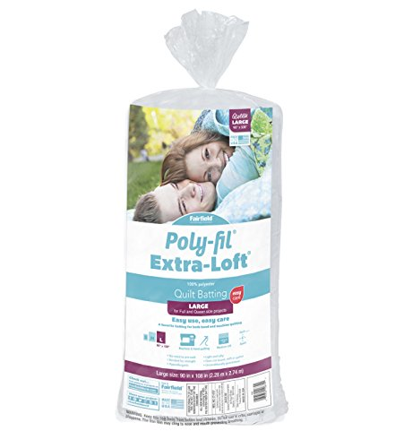 "Fairfield Polyfil Extra-Loft Bonded Polyester Batting, 90"" x 108""/Queen, White"