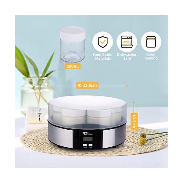 Amzdeal Yogurtiera- Yogurtiera Elettrica con Display LCD e 7 Barattoli di Vetro da 200 ml, Timer di Spegnimento… 2