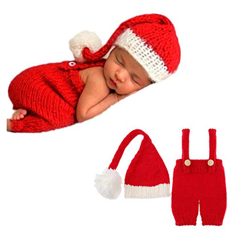Newborn Boy Photography Outfits Props Handmade Knitted Crochet Baby Photo Costume Infant Shoot Accessories Cute Christmas Hat Pants Red (Best Cute Baby Photos)