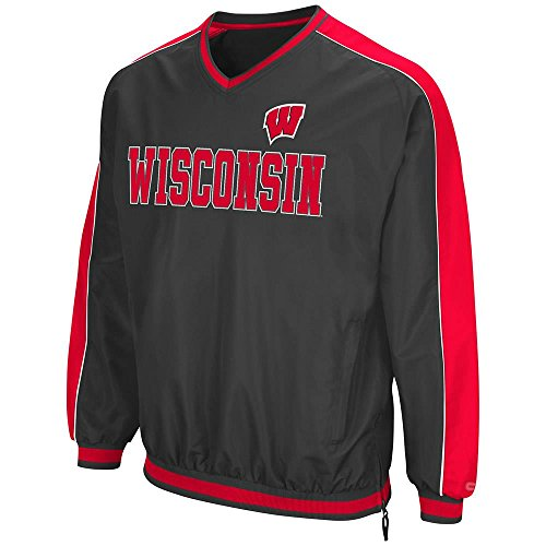 (Colosseum Mens Wisconsin Badgers Attack Line Wind Breaker Jacket - S)