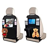 EletecPro Car Back Seat Organizer 2 Pack with 1 Tissue Box,Washable Kick Protector for Kids,Multi-Pocket Storage for Toy/Bottles/Umbrella/10 inches iPad