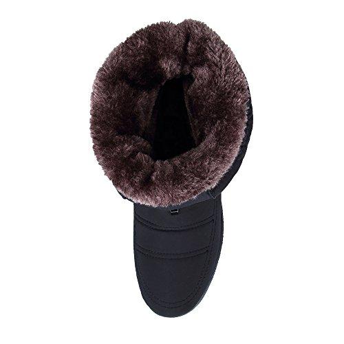 Invierno Botines KOUDYEN Zapatos Nieve para de Cremallera Mujer Botas Negro Calentar Cdw6zd1xq