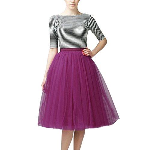 CoutureBridal Jupe Femme Courte Tutu Tulle Jupon Annes 50 Vintage Violet