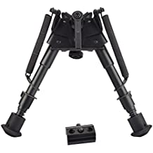 Twod Rifle Bipod 6-9 Inch Adjustable Spring Return Picatinny & Swivel-Stud Sniper Hunting Bipod with Mount Adapter