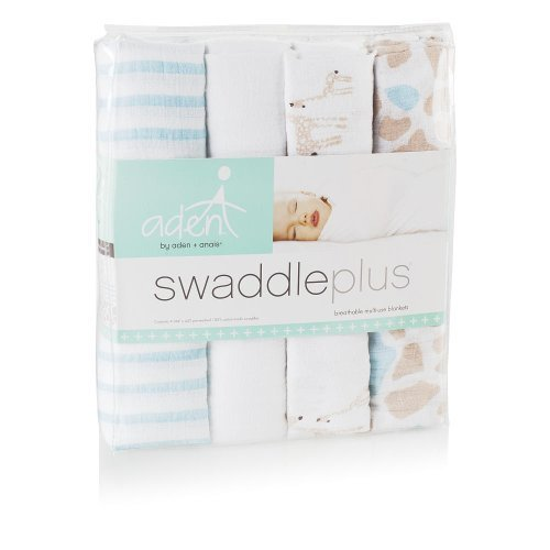 (aden by aden + anais Swaddleplus Baby Swaddle Blanket, 100% Cotton Muslin, Large 44 X 44 inch, 4 Pack, Wild About Giraffes)