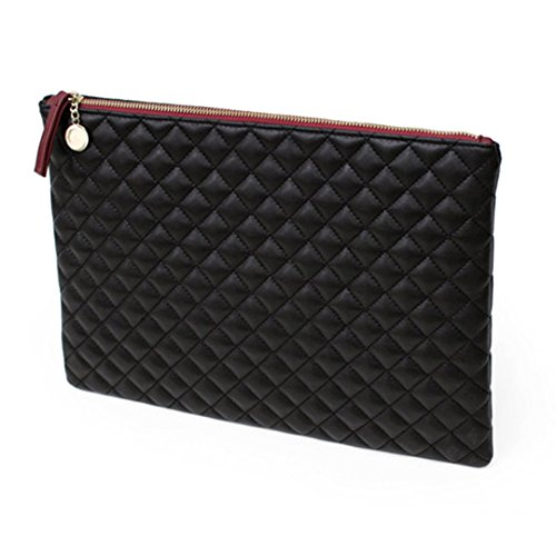 Felice Oversized Envelope Clutch Fashionista Quilted Diamond Pattern Leather Handbag Purse - Quilted Clutch Oversized