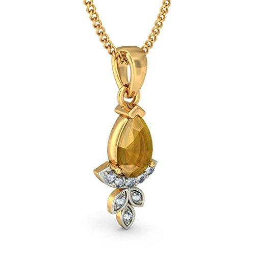 Or jaune 18K 0,08ct tw Round-cut-diamond (IJ | SI) et citrine Pendentif
