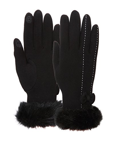 [EBMORE Womens Bowknot Touch Screen Warm Winter Gloves For Cold Weather (Black)] (Sexy Women Costumes Ideas)