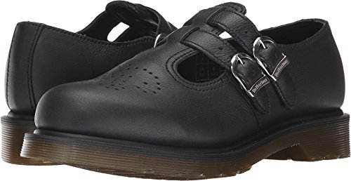 (Dr. Martens Women's 8065 PW Mary Jane Virginia Leather Buckle Black-Black-4 Size 4)