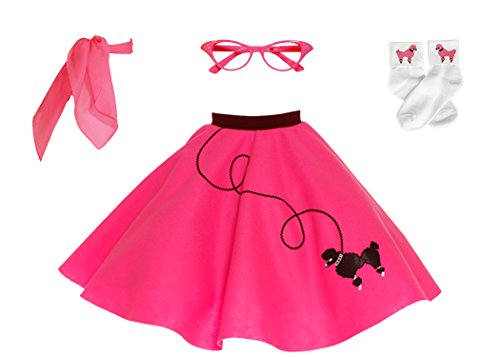 Decade Themed Party Costumes (Hip Hop 50s Shop 4 Piece Child Poodle Skirt Costume Set, Size Medium Hot Pink)