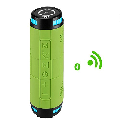 10000mAH Li-po 10W2 Built-in Outdoor Sports Cycling Wireless Bluetooth Speaker For Mountain Bike Portable Waterproof Speaker Subwoofer For Android Iphone (Green)