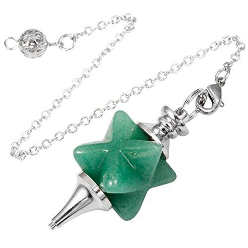 - TUMBEELLUWA Healing Crystal Pendulum Chakra Quartz Dowsing Energy Stone Divination Reiki Meditation Balancing,Merkaba,Green Aventurine