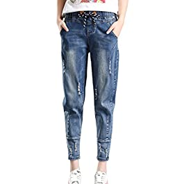 PHOENISING Women's Stylish Ripped Hole Fashion Cropped Jeans Drawstring Relaxed Pants