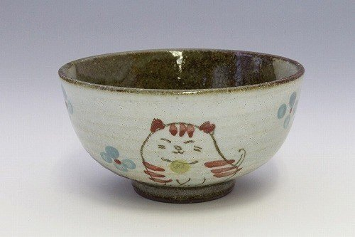 Matsumoto pottery Japanese Ceramic Rice Bowl - Red Flower Cats 47645