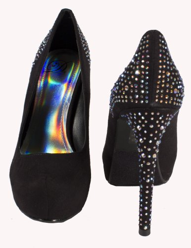Tower! By Delicious Classic Hidden Platform with Iridescent Crystal Studded Heel in Black Faux Suede LuimrJw