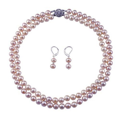 2 Rows 8-9mm Lavender Hand-pick Genuine Freshwater Cultured Pearl Necklace 17