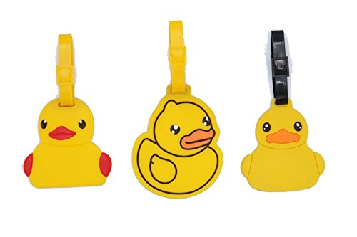 Set of 3 - Super Cute Kawaii Cartoon Silicone Travel Luggage ID Tag for Bags (Rubber Ducky)