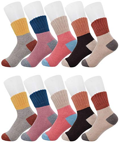 5 Pairs Winter Socks, Vintage Style Chunky Knit Wool Cashmere, Thick Warm Soft Solid Casual Sports Socks-pure color set