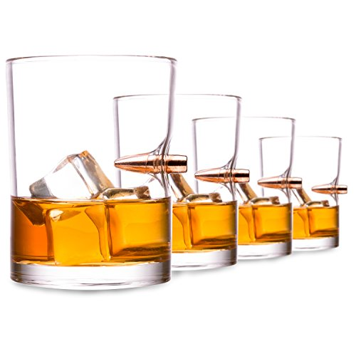 .308 Real Bullet hand-blown Whiskey Glass Set of 4