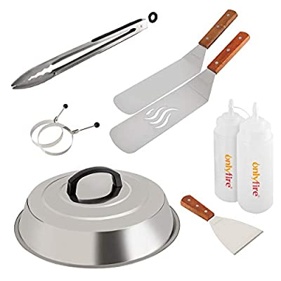 "Onlyfire Professional BBQ Griddle Tool Kit Great for Grill Griddle Flat Top Cooking Camping, with One 12"" Melting Dome, 9 pcs"