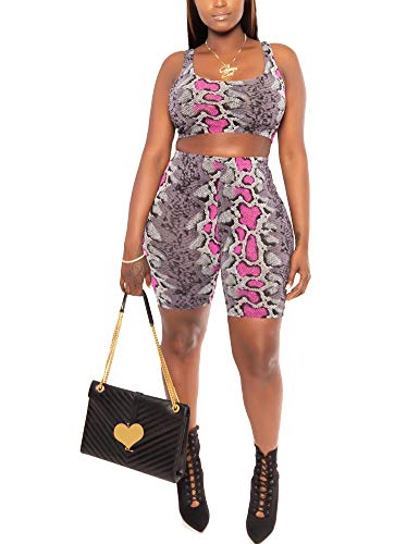 Sexy 2 Piece Outfits Summer Bodycon Tracksuit Snakeskin Tank Tops Shorts Purple