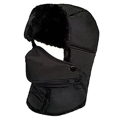 LETHMIK Winter Trapper Ushanka Hat Unisex Faux Fur Bomber Hat with Breathable Mask
