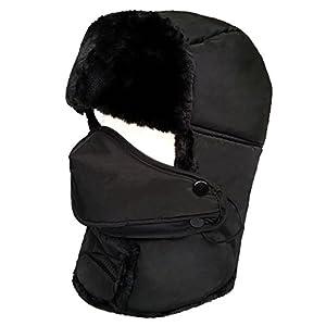 LETHMIK Winter Trapper Ushanka Hat Unisex Faux Fur Aviator Hunting Hat with Breathable Mask