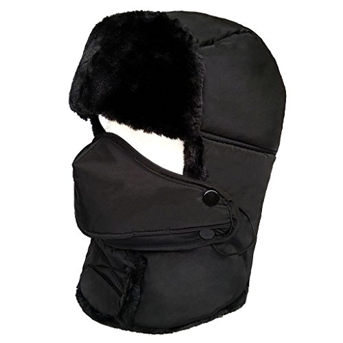 LETHMIK Winter Trapper Ushanka Hat Unisex Faux Fur Waterproof Hunting Hat with Breathable Mask Black