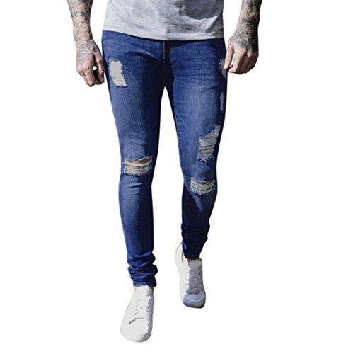 kingfansion Men's Skinny Jeans Stretch Denim Riding Broken Jeans to Destroy Close-Fitting Slim Pants Casual Pants Men's Trousers Regular Thickness (3XL, Dark Blue)