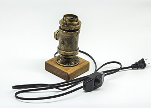 Y-Nut Loft Style Lamp Steampunk Industrial Vintage Style, Water Pipe Table Desk Light with Dimmer BTN16-0602, Aged Rustic Bronze Metal by Y-Nut (Image #1)
