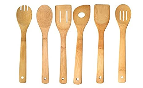 Wooden Bamboo Kitchen Cooking Utensils Spoon, Fork, Spatula Set W/ Hanging  Holes