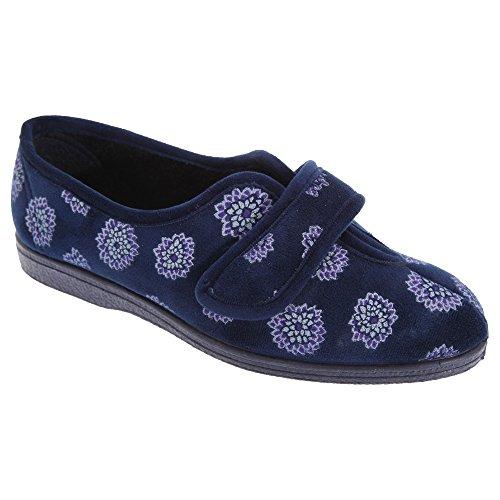 Sleepers Ivy Damen Hausschuhe mit Klettverschluss, Blumenmuster Marineblau