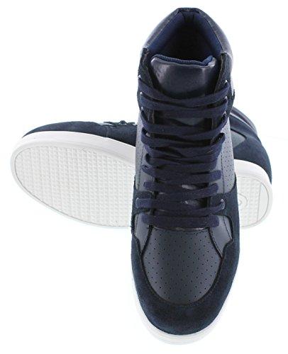 Calto H11282-2,6 Pollici Taller - Scarpe Con Rialzo Altezza Aumentata - Sneakers In Pelle Blu Scuro Con Stringhe