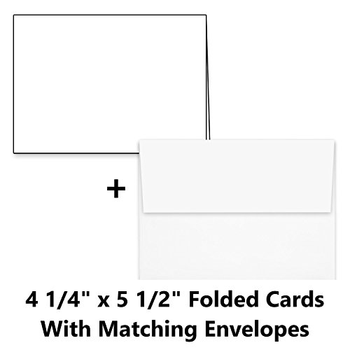 Hamilco White Cardstock Thick Paper Blank Place Tent Folded A2 Cards - Greeting Invitations Stationary - 4 1/4 x 5 1/2