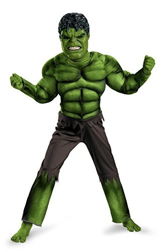 Costumes The Hulk (Avengers Hulk Classic Muscle Costume, Green/Brown, Large)