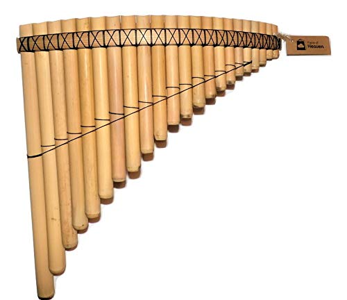 (Pan Flute 22 Pipes Natural Bamboo Tuned Mi Minor From Peru -)