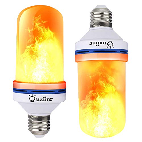 Ouxiinr 2 Pack LED Flame Bulb, Fire Effect Bulbs E26/E27, 4 Modes with Upside Down Effect, Simulated Decorative Light Atmosphere Lighting Vintage Flaming Lamp for Holiday RV/Garage/Party/Home/Patio ()