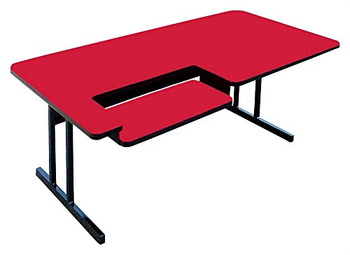 High Pressure Computer Table - Bi Level Work Station (30 in. x 48 in./Red) (Bi Computer Level)