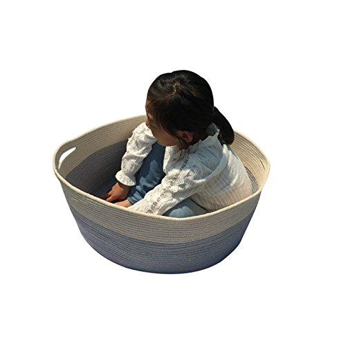ICEBLUE XXL Jumbo Toy Storage Cotton Rope Basket Hamper with Invisible Handles 21.6''16.9''11.8''