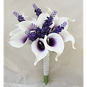 "Lily Garden Mini 15"" Artificial Calla Lily 10 Stem Flower Bouquets (Purple center with lavender) 96"
