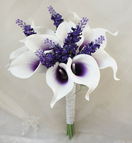 "Lily Garden Mini 15"" Artificial Calla Lily 10 Stem Flower Bouquets (Purple center with lavender)"