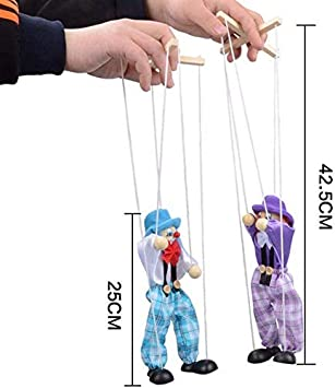 Green Cute Clown Hand Marionette Puppet Pull String Wooden Marionette Activity Joint Puppet Doll Colorful Kids Childrens Marionette Toys Parent-Child Interactive Toys Gift