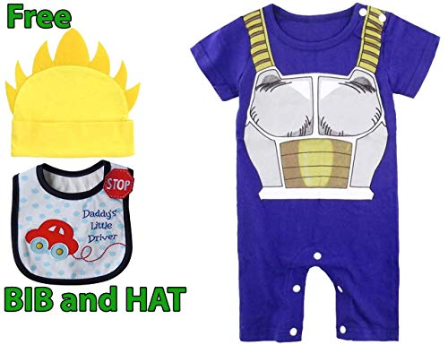 Geek Gear Dragon Ball Z Baby Vegeta Romper Toddler Jumpsuit Costume Goku Cosplay Free Bib and Hat (6M, -
