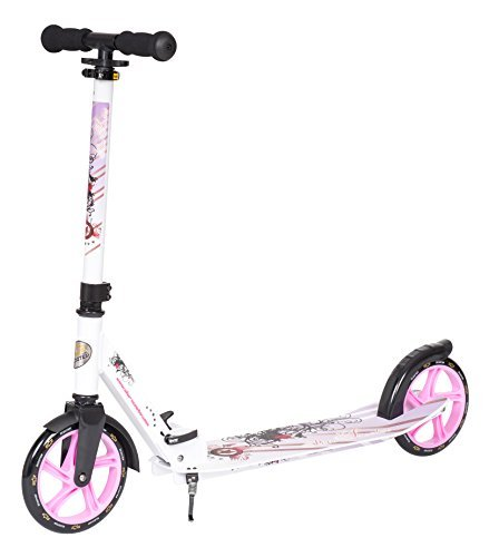 STAR-SCOOTER Original Pro Sport Big Wheel Push kick Scooter Foldable with Extra Big Footstep for Adults, Teens and Kids age 7 years   205mm XXL Footstep Edition   White & Purple