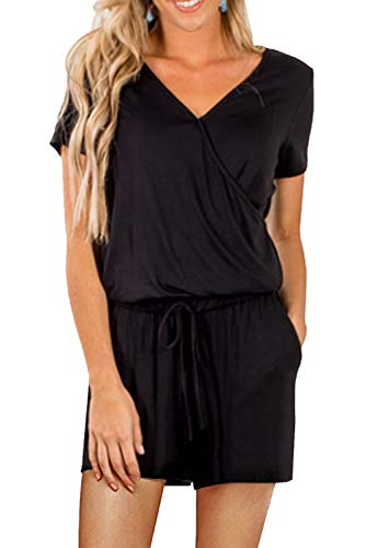 Shawhuwa Womens Rompers for Summer V Neck Short Sleeve Back Keyhole Romper Clubwear Black L
